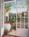 barbara felisky brunch overlooking bonnieux painting
