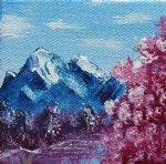 bob ross bright blue mountains painting