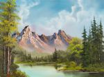 art oil paintings - crimson mountains by bob ross