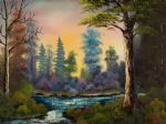 bob ross dark waterfall painting