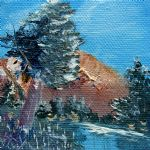 gallery oil paintings - leaning pine tree landscape by bob ross