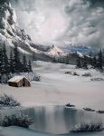 bob ross lonely cabin painting