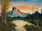 bob ross mountain at sunset painting 86082