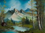 bob ross mountain cabin painting