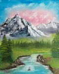 bob ross mountain stream painting