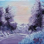 art oil paintings - purple majesty landscape by bob ross