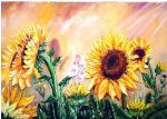 art oil paintings - sunflowers by bob ross