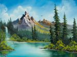wilderness waterfall by bob ross painting