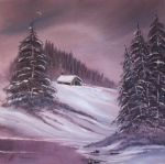bob ross winter moon 86162 paintings