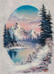 bob ross winter paradise oval 86167 oil paintings