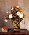 camille pissarro chrysanthemums in a chinese vase painting