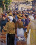 poultry market at gisors by camille pissarro painting