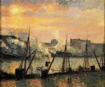 quay in rouen sunset by camille pissarro painting