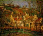 red roofs corner of a village winter by camille pissarro painting