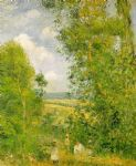camille pissarro resting in the woods at pontoise paintings