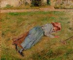 resting peasant girl lying on the grass pontoise by camille pissarro painting