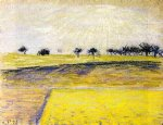 camille pissarro sunrise over the fields eragny painting