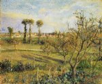 sunset at valhermeil near pontoise by camille pissarro painting