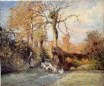 camille pissarro the goose girl at montfoucault white frost posters