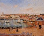 the inner harbor dieppe afternoon sun low tide by camille pissarro painting