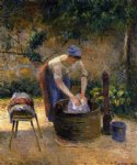 the laundry woman by camille pissarro painting