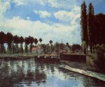 the lock at pontoise by camille pissarro painting