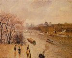 the louvre afternoon rainy weather by camille pissarro painting