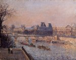the louvre afternoon by camille pissarro painting