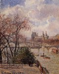 the louvre gray weather afternoon by camille pissarro painting