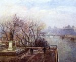 the louvre morning mist by camille pissarro painting