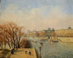 the louvre morning sun by camille pissarro painting