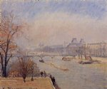 the louvre by camille pissarro painting