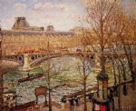 the pont du carrousel afternoon by camille pissarro painting