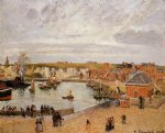 the port of dieppe by camille pissarro painting