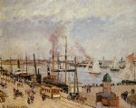 the port of le havre by camille pissarro painting