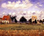 the red house by camille pissarro painting