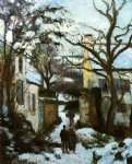 the road to l hermitage in snow by camille pissarro painting