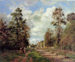 the road to louveciennes at the outskirts of the forest by camille pissarro painting