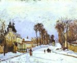 the road to versailles at louveciennes by camille pissarro painting