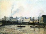the saint sever bridge at rouen fog by camille pissarro painting