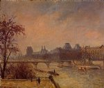 the seine and the louvre paris by camille pissarro painting