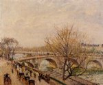 the seine at paris pont royal by camille pissarro painting