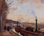 the seine at port by camille pissarro painting