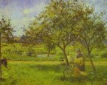 the wheelbarrow by camille pissarro painting