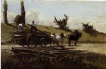the wood cart by camille pissarro painting