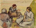three peasant women by camille pissarro painting