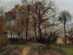 trees on a hill autumn landscape in louveciennes by camille pissarro painting