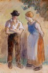 two peasants by camille pissarro painting