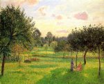 two women in a meadow sunset at eragny by camille pissarro painting