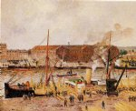 unloading wood at rouen by camille pissarro painting